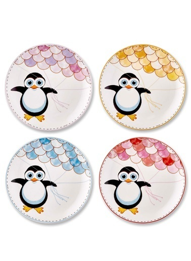 The Mia Penguin Pasta Tabağı - 4 Parça Renkli